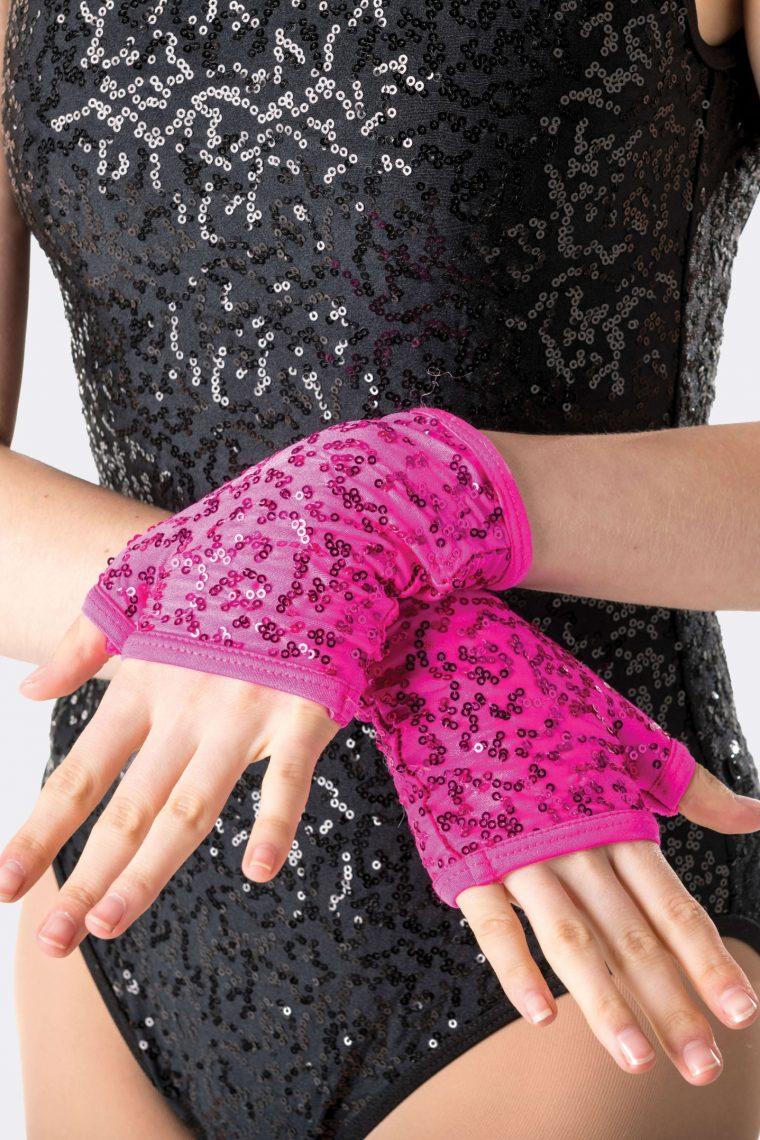 sequin fingerless gloves hot pink
