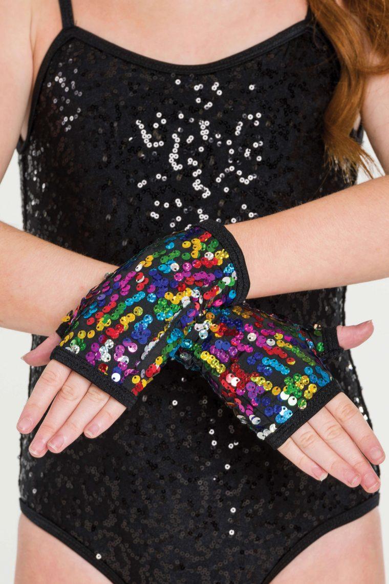 sequin fingerless gloves rainbow