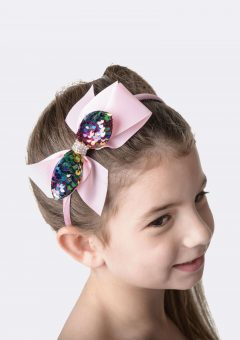 big bow headband pink rainbow