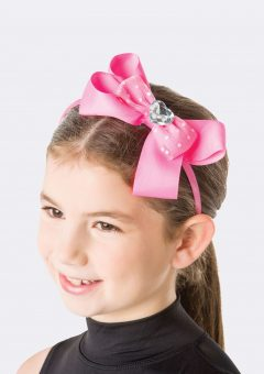 big bow pink diamante