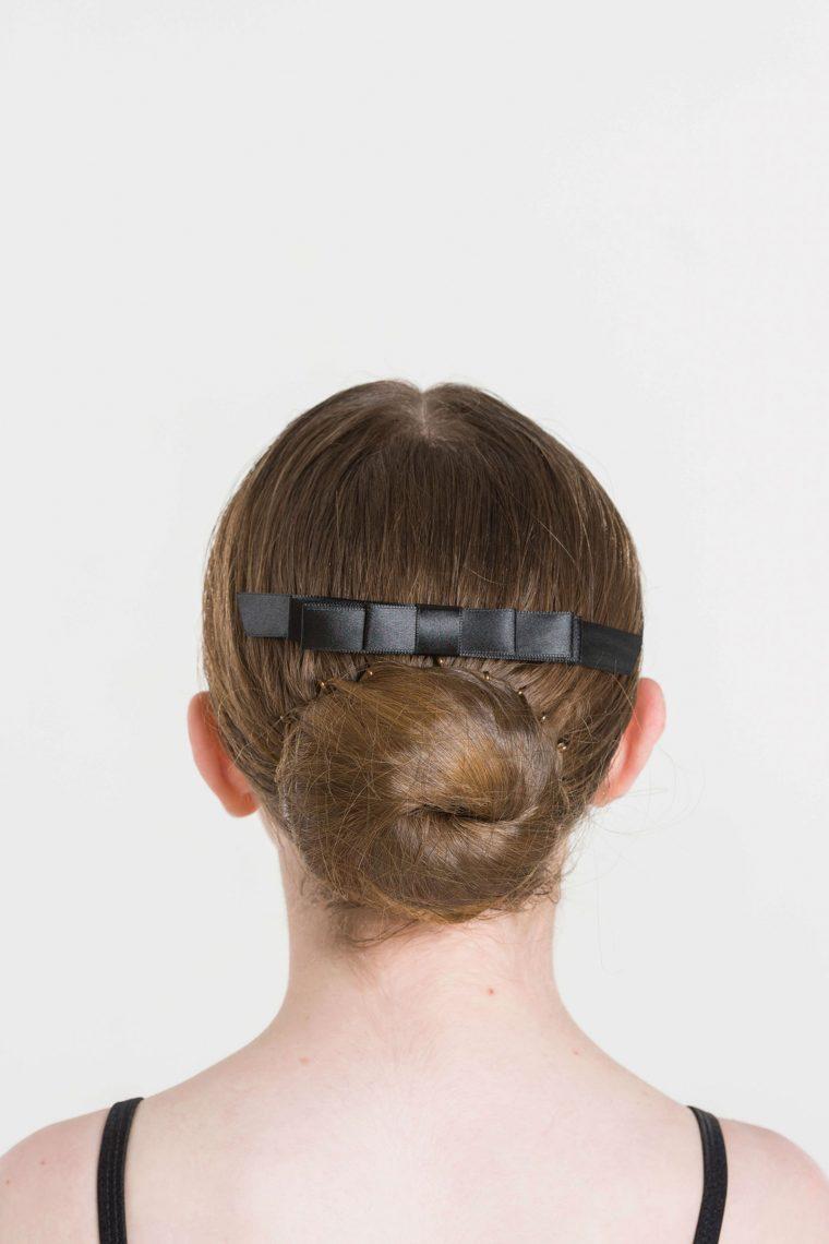 satin hair bow black