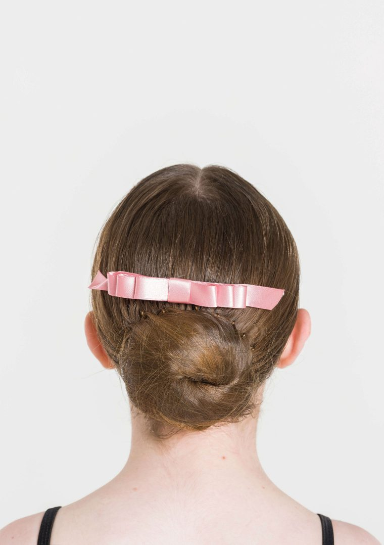 satin hair bow ballet pink