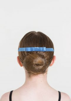 satin hair bow cornflower blue