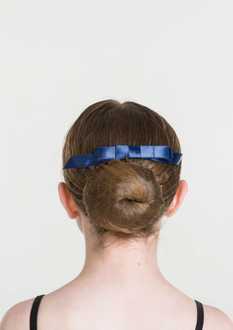 satin hair bow navy