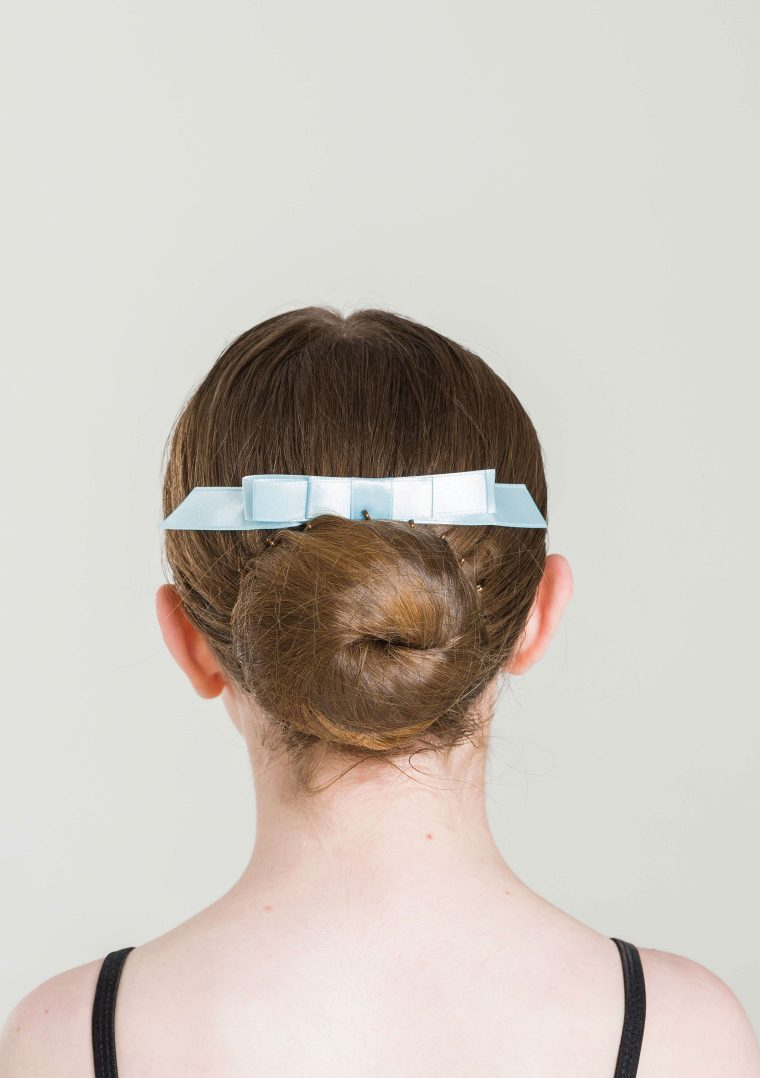 satin hair bow pale blue