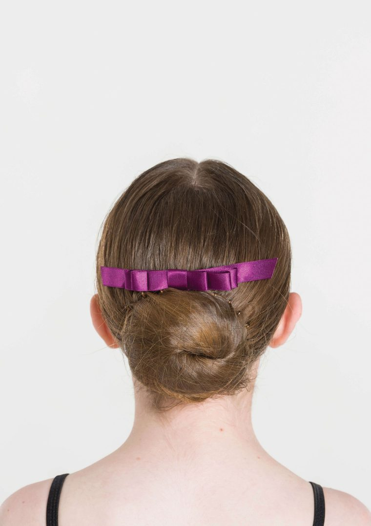 satin hair bow plum