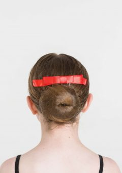 satin hair bow red