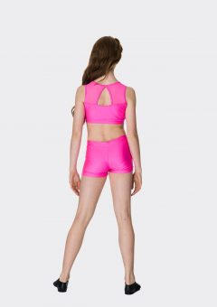 mesh crop top hot pink