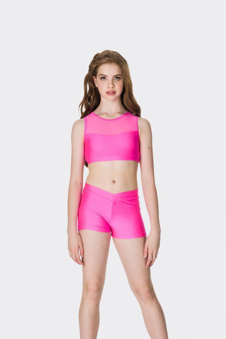 mesh crop top hot pink