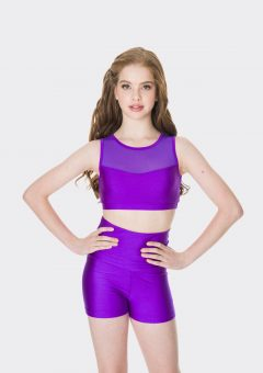 mesh crop top purple