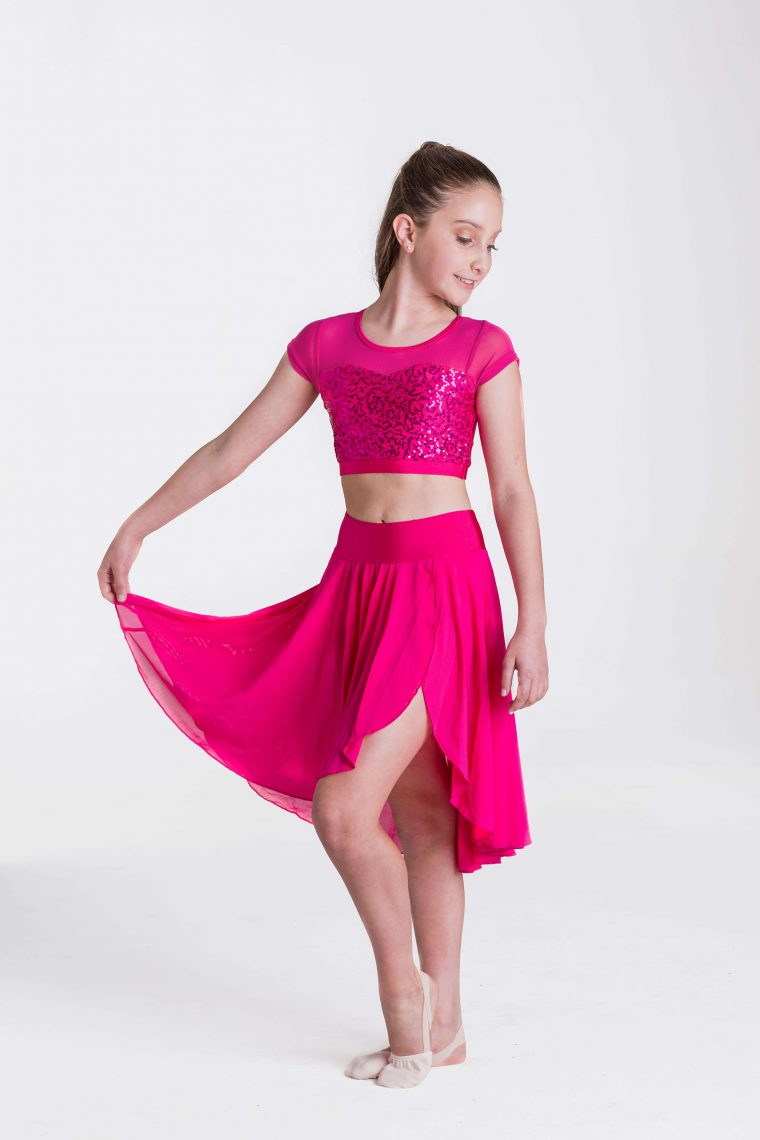 attitude sequin crop top fuchsia
