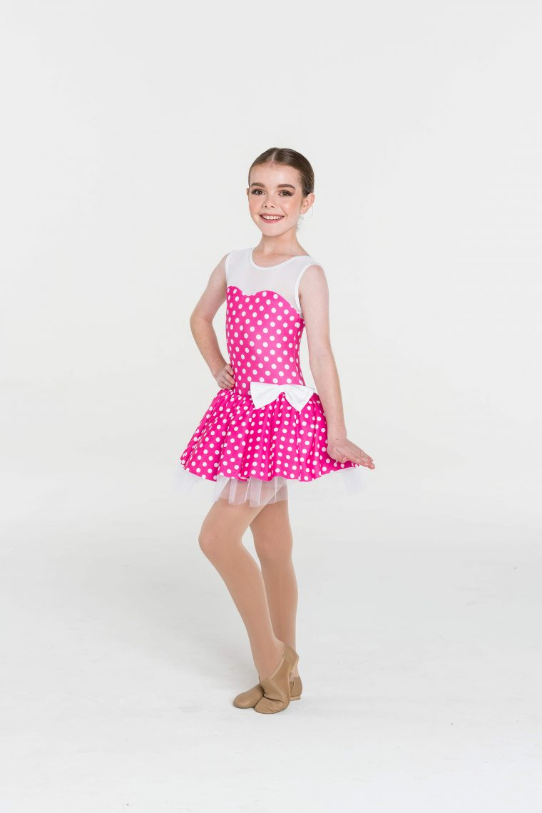 polka dot princess dress pink