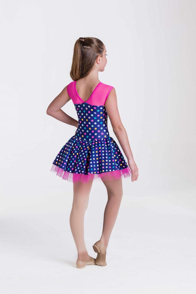 polka dot princess dress navy