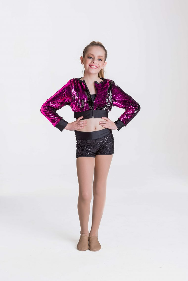 stage lights cropped jacket pink sequins