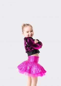 stage lights cropped jacket sequin pink