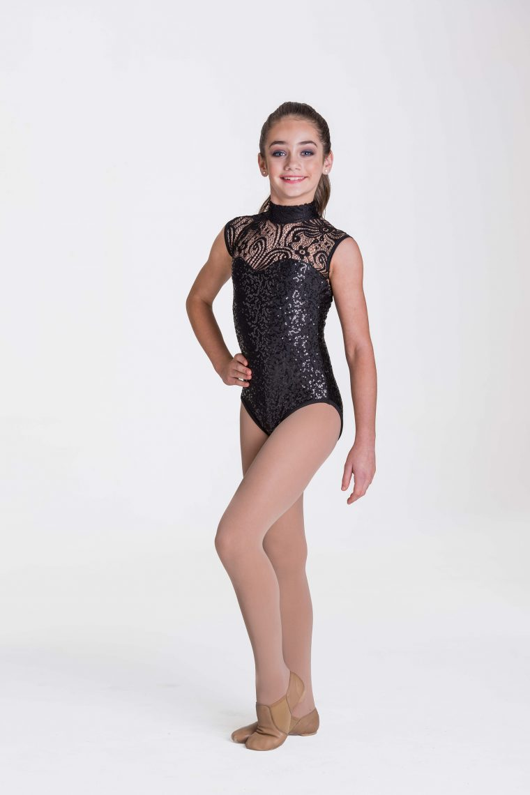 deco lace leotard black