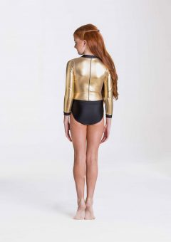 metallic warrior leotard gold
