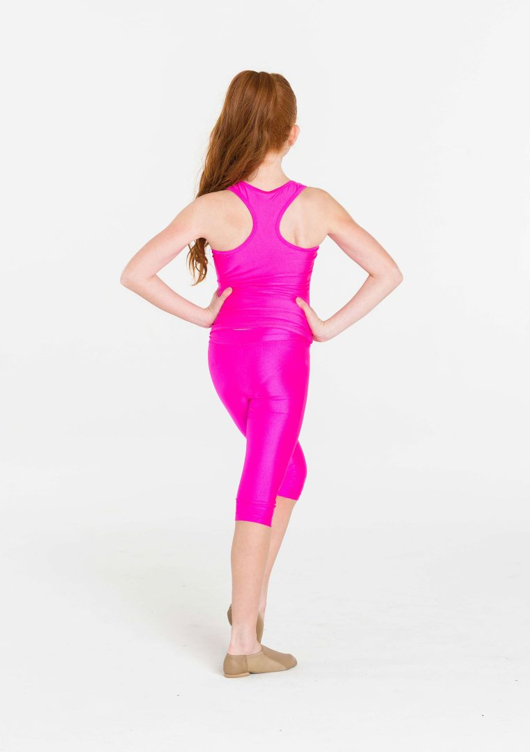 pink 3/4 nylon leggings