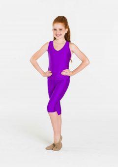 Purple 3/4 nylon leggings