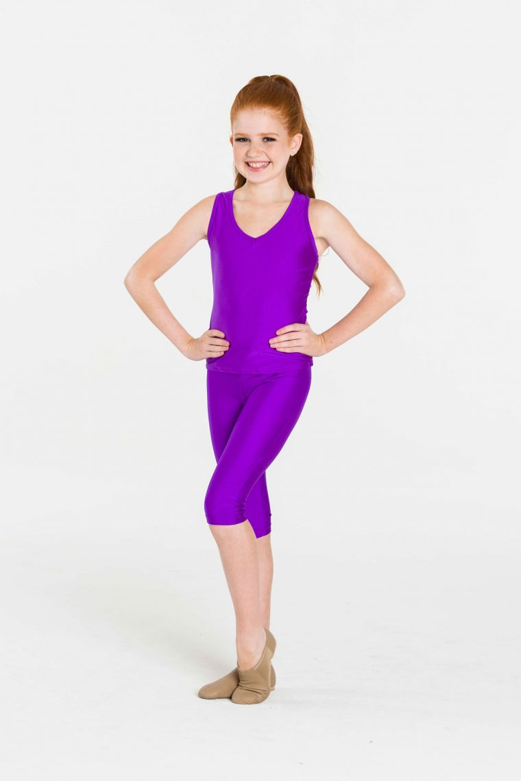 Purple 3/4 nylon leggings