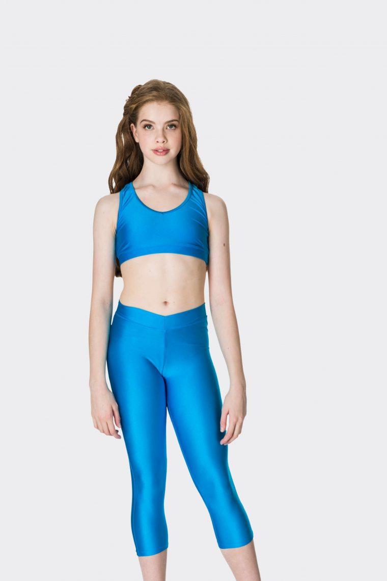 turquoise 3/4 nylon leggings