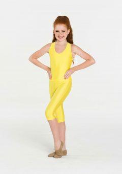 yellow 3/4 nylon leggings