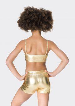 Nylon hot shorts Metallic gold