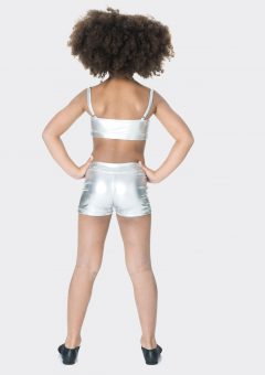 Nylon hot shorts Metallic silver