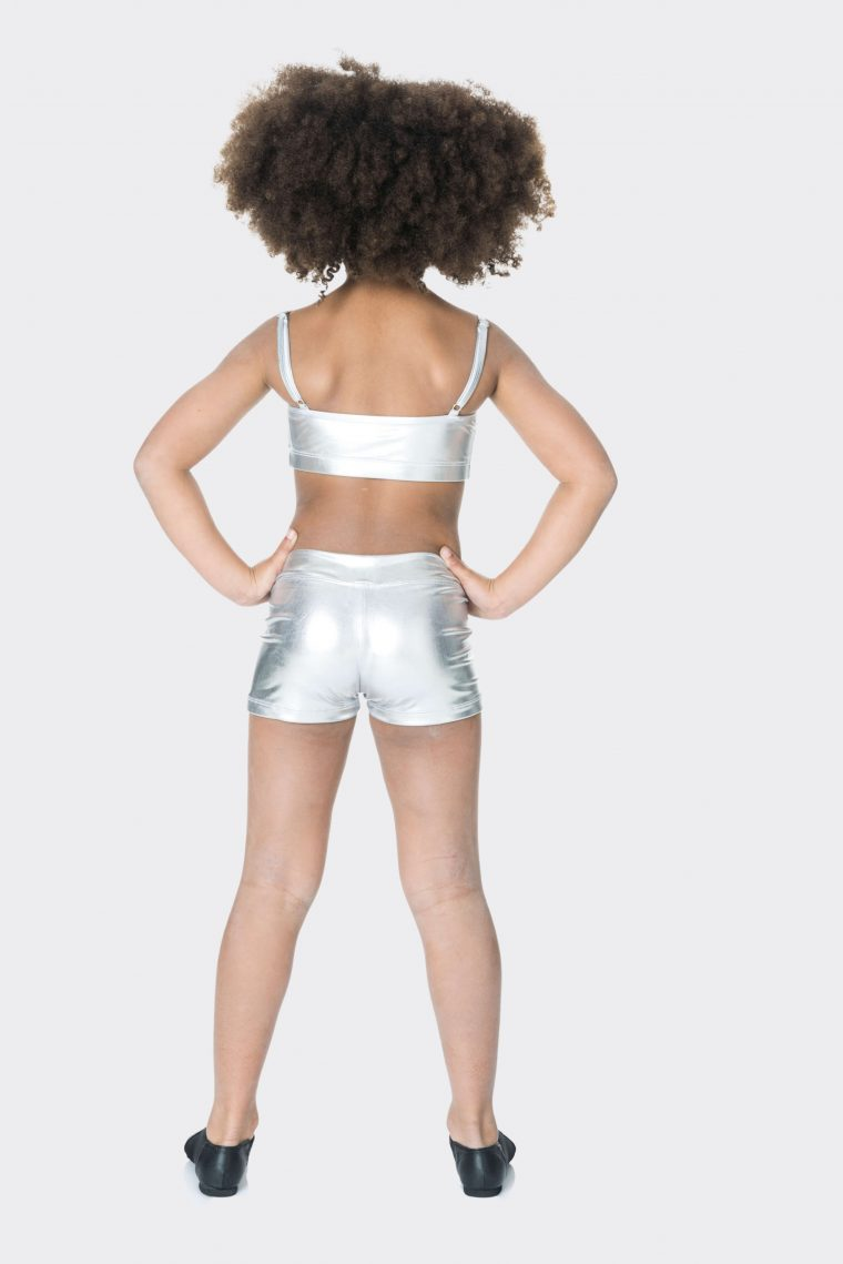 Nylon hot shorts Metallic silver