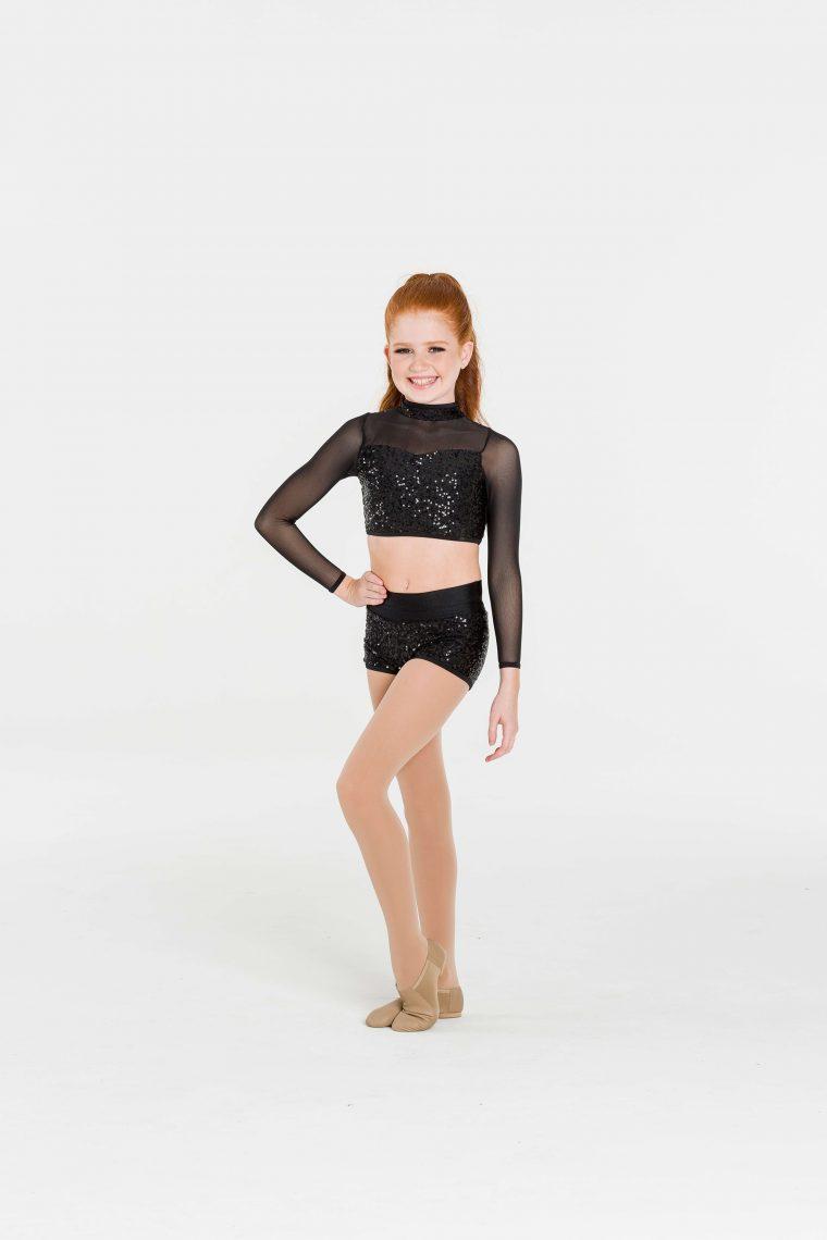 attitude sequin shorts black