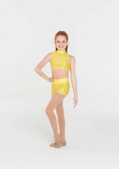 attitude sequin shorts yellow
