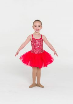 sequin tutu dress red