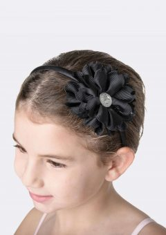 flower jewel headband black