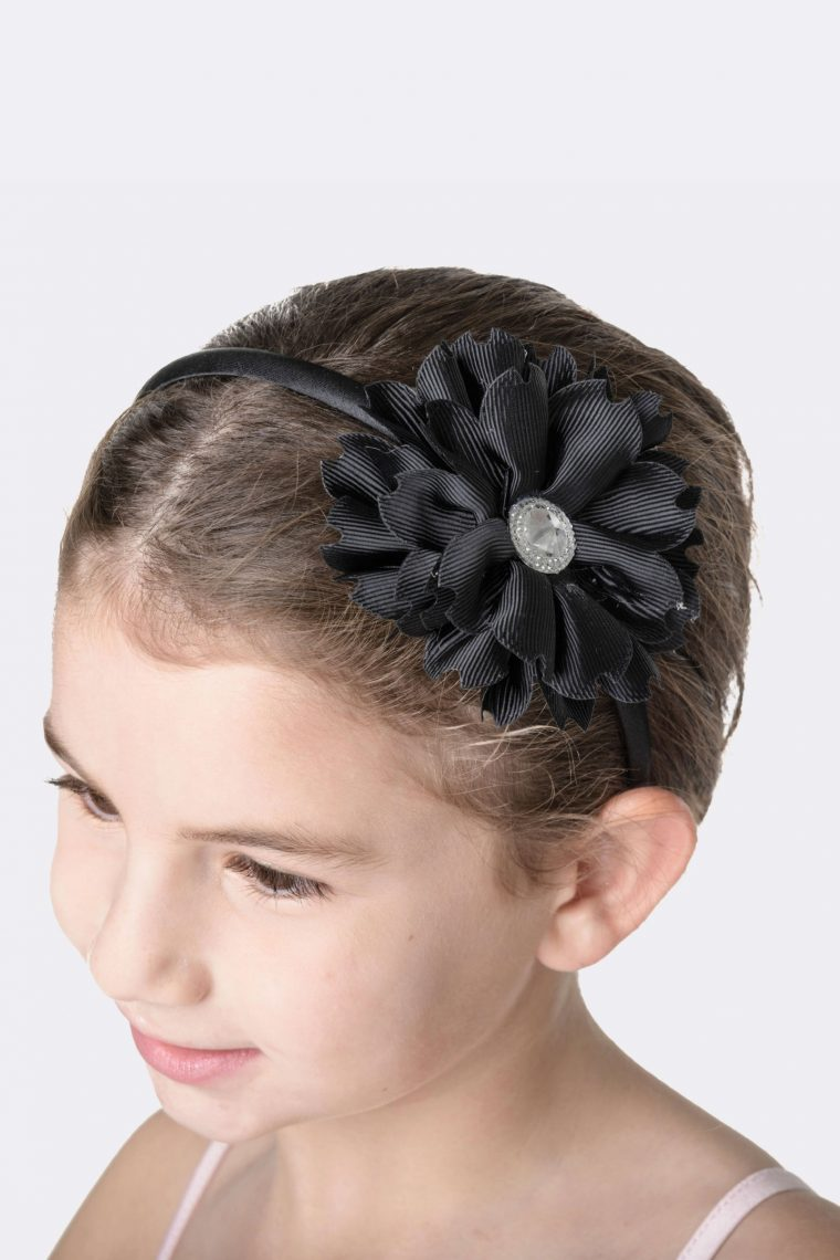 flower jewel headband black