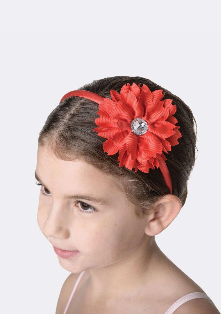 flower jewel headband red