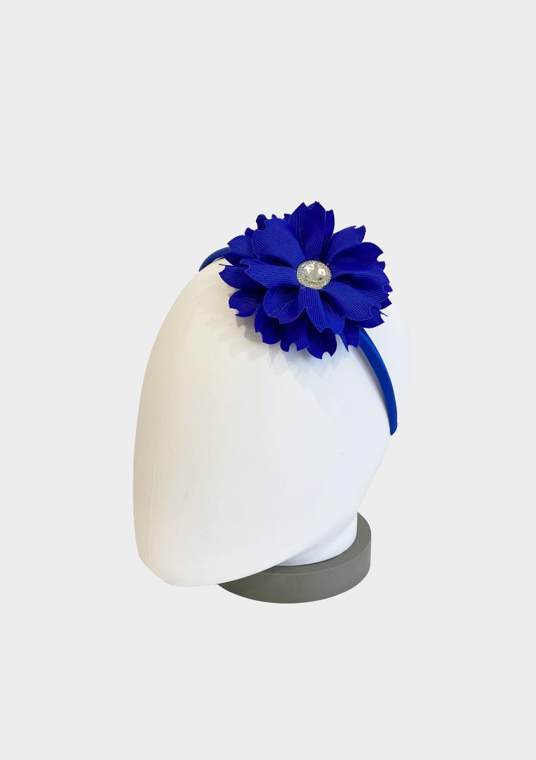 flower jewel headband royal blue