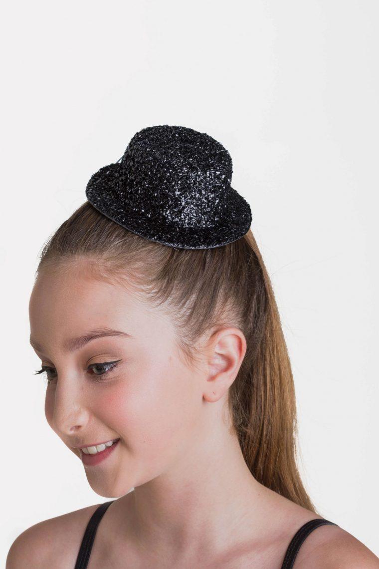 glitter hat clip black