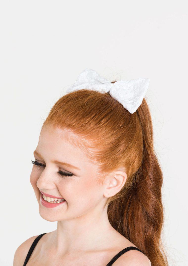 sequin hair bow white