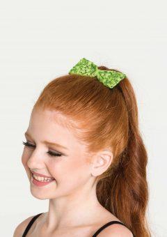 sequin hair bow lime