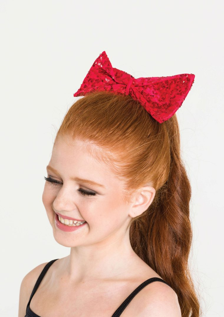 sequin hair bow red