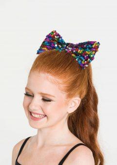 sequin hair bow rainbow