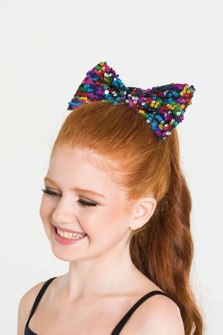 sequin hair bow rainbow