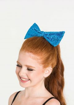 sequin hair bow turquoise