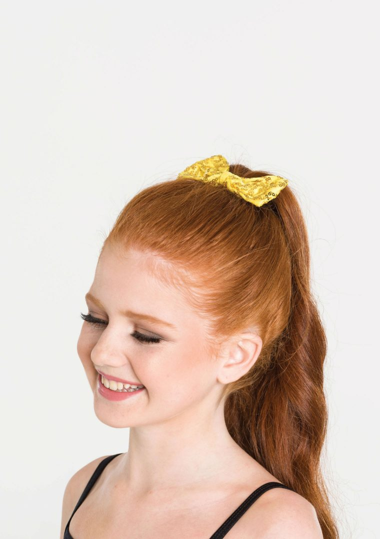 sequin hair bow yellow
