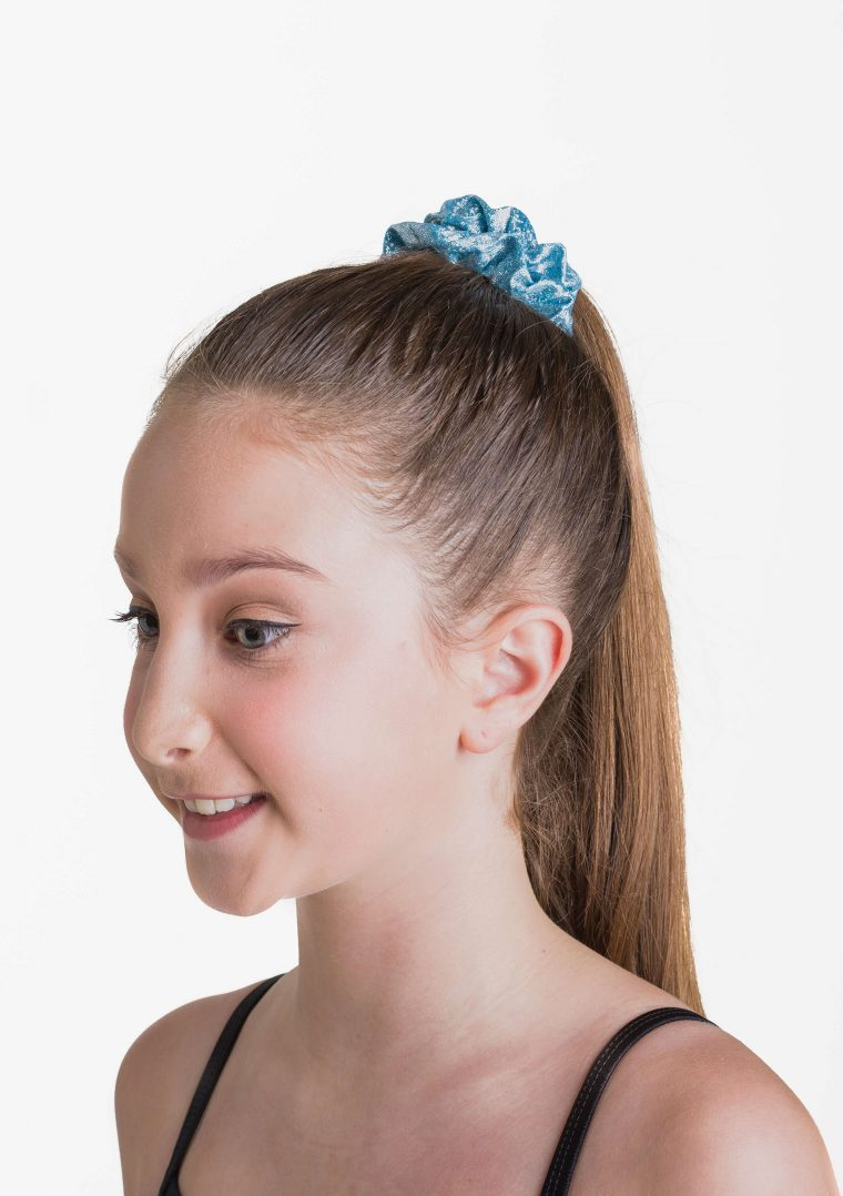 metallic scrunchie blue