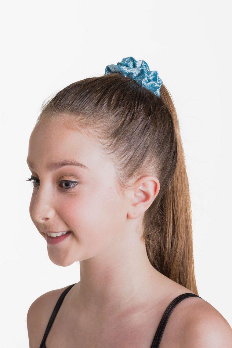 metallic scrunchie blue