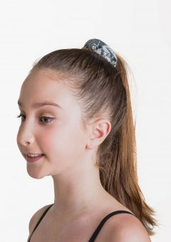 metallic scrunchie black