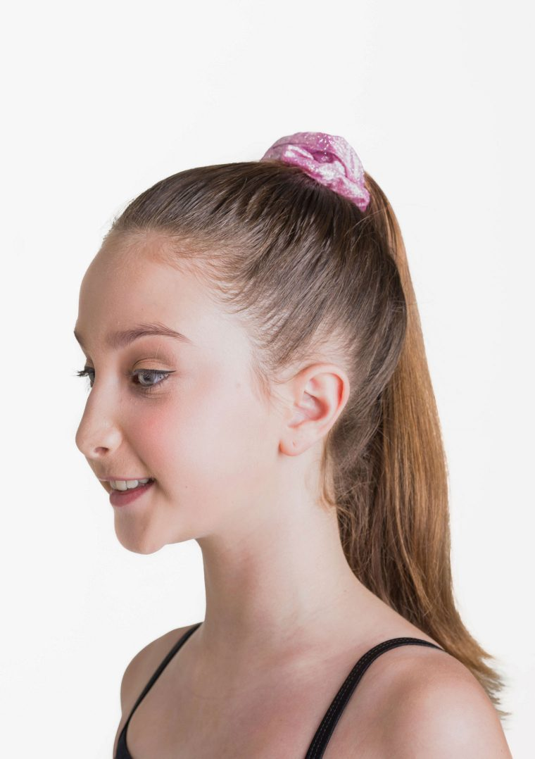 metallic scrunchie pink
