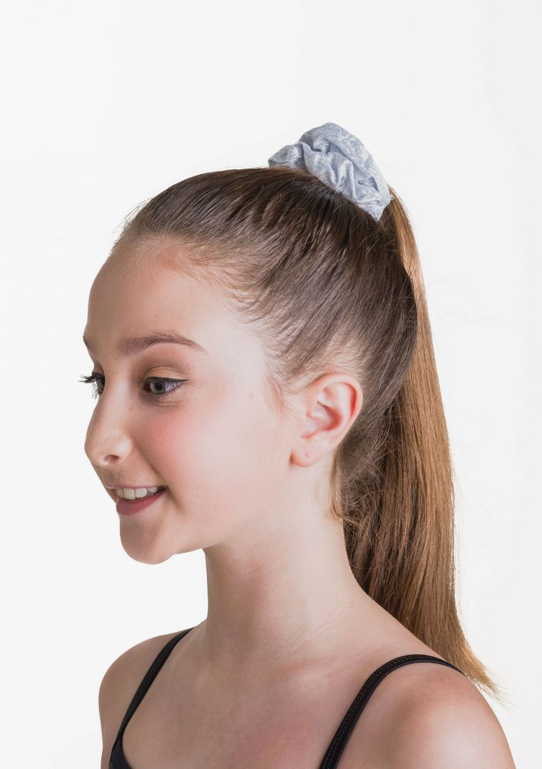 metallic scrunchie silver