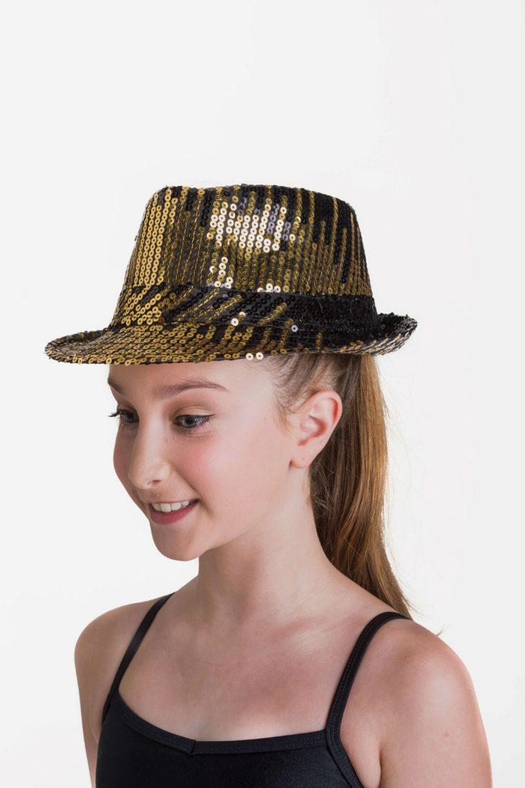 sequin hat metallic gold